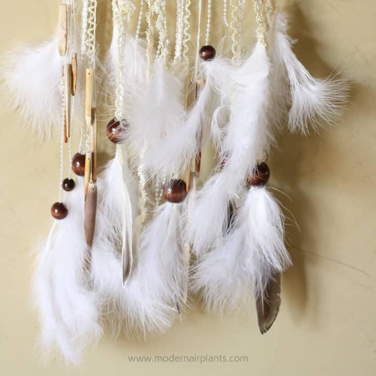 feather and beads for dreamcatcher